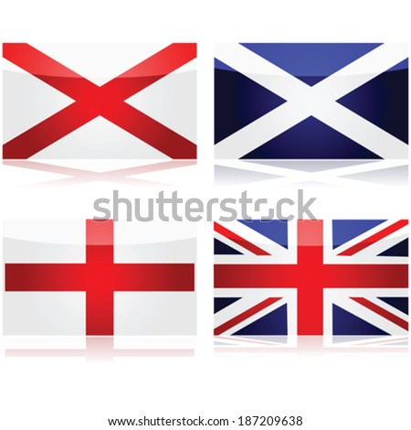 Vector set showing the flags used as a basis for the Union Jack: St George for England, St Andrew for Scotland and St Patrick for Ireland