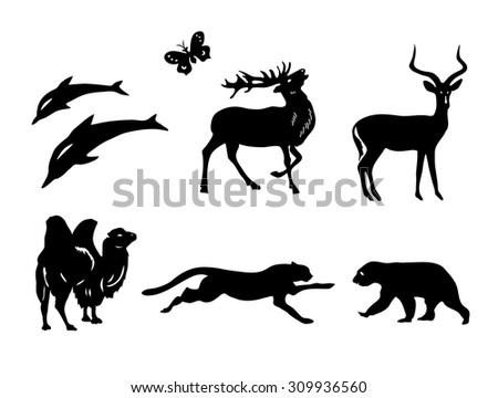 vector set - silhouettes of animals - stock vector