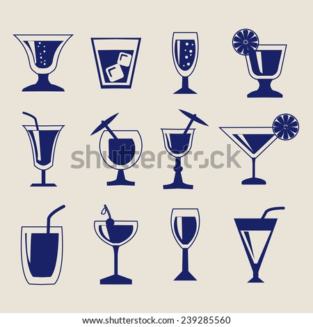 vector set silhouettes of Cocktail glasses - Illustration  - stock vector