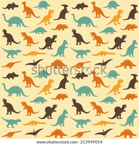vector set silhouettes of dinosaur,animal illustration, retro pattern background - stock vector