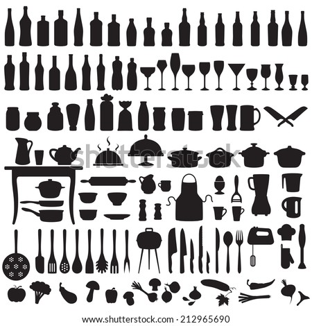 vector set silhouettes of kitchen tools, cooking icons  - stock vector