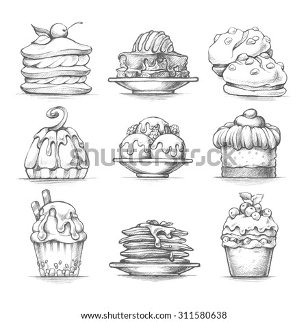 Vector Set Sketch Illustrations Desserts Food Stock Vector ...