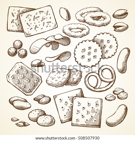 Vector set sketch snack food. Hand drawn illustrations on white background. Fast food restaurant, menu, packaging. Crackers, cookies, biscuits, chips, nuts