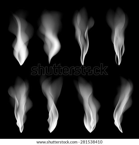Vector set smoke background fire smooth wallpaper concept shape art - stock vector