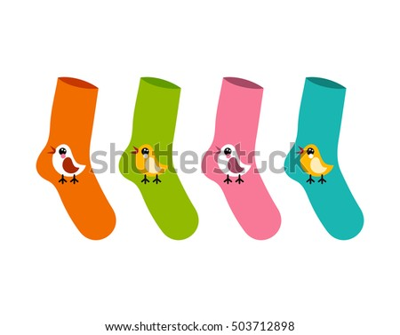 vector set socks patterned twitter bird on white