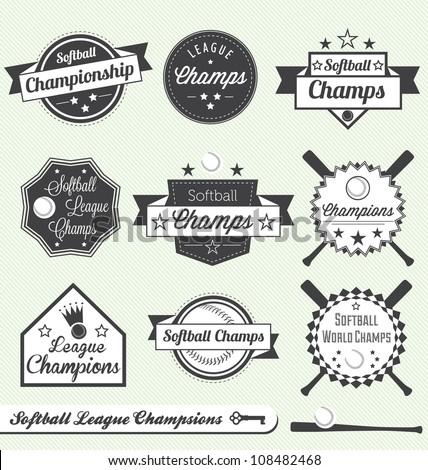 Vector Set: Softball League Champion Labels - stock vector