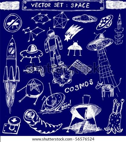 vector set : space doodle - stock vector