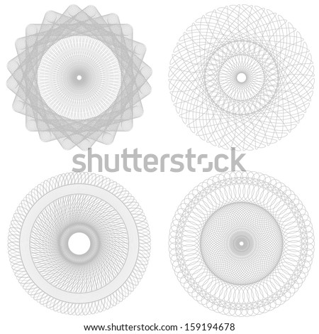 Vector set Spirographs background for certificates, coupons, vouchers, posters, tickets or cards - stock vector