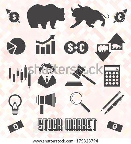 Vector Set: Stock Market Icons and Symbols - stock vector