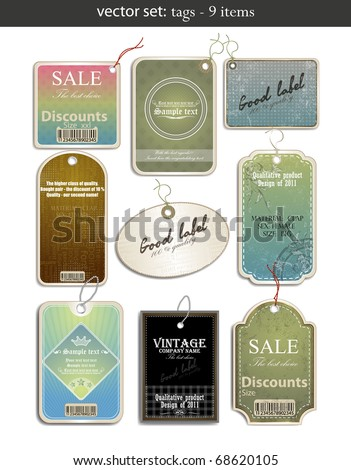 vector set: tags - 9 items - stock vector