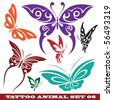 vector set: templates butterfly for tattoo and design on different topics - stock vector