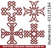 vector set: templates for tattoo and design in the form of the celtic cross on different topics - stock vector