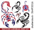 vector set: templates scorpions for tattoo and design on different topics - stock vector