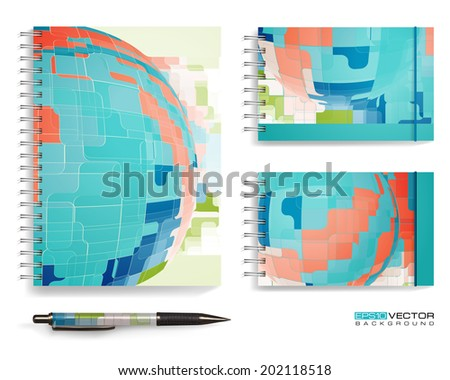 Vector set - the pen and notebooks with abstract drawing