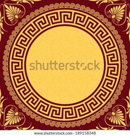 Vector set Traditional vintage golden round Greek ornament (Meander) and floral pattern on a background - stock vector