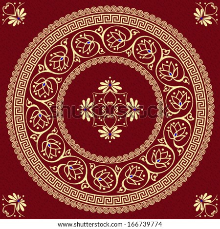 vector set Traditional vintage golden round Greek ornament (Meander) and floral pattern on a red background - stock vector