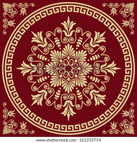 Vector set Traditional vintage golden square and round Greek ornament (Meander) and floral pattern on a red background - stock vector