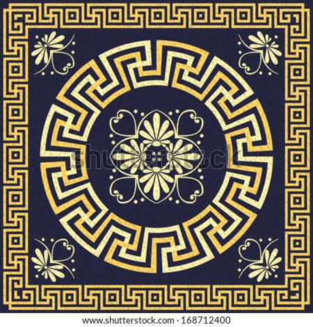 vector set Traditional vintage golden square and round Greek ornament (Meander) and floral pattern on a blue background - stock vector