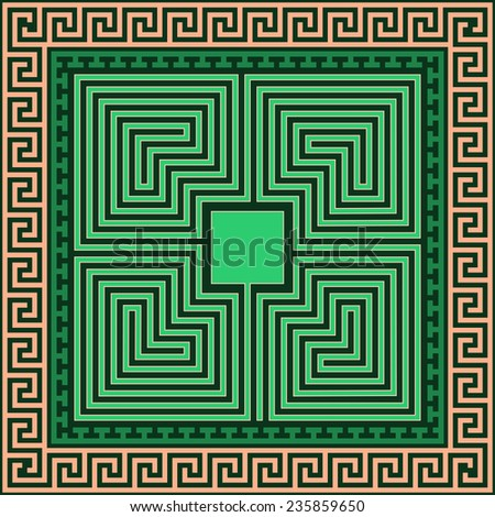 Vector set Traditional vintage square Greek ornament (Meander) and labyrinth on a black background - stock vector