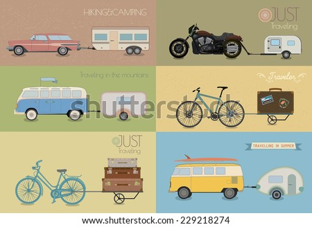 Vector set transport with caravan. - stock vector