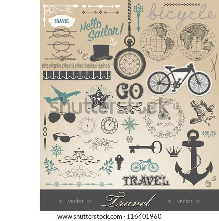 Vector set - travel calligraphic design elements and pictures and details - stock vector