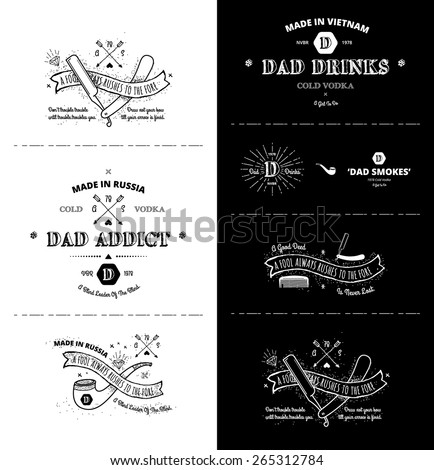 vector set - Trendy Retro Vintage Insignias - Badges - stock vector