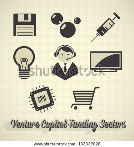 Vector Set: Venture Capital Funding Sector Icons - stock vector