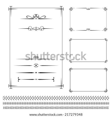 Vector set vintage calligraphic frames, vignettes, decorative elements. - stock vector