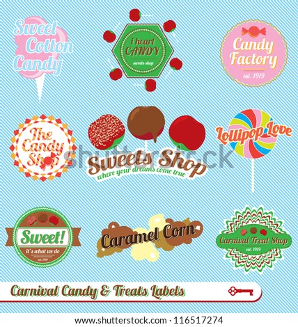 Vector Set: Vintage Carnival Treats and Candy Labels