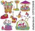 Vector set: Vintage Circus Set - for scrapbook or design elements - stock vector