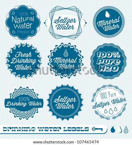 Various water labels stock illustration 150503798 for Mineral water label template