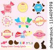 Vector Set: Vintage Easter Candy Labels and Icons - stock photo