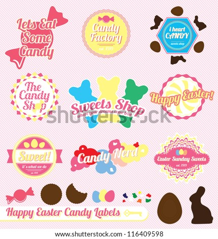 Vector Set: Vintage Easter Candy Labels and Icons - stock vector