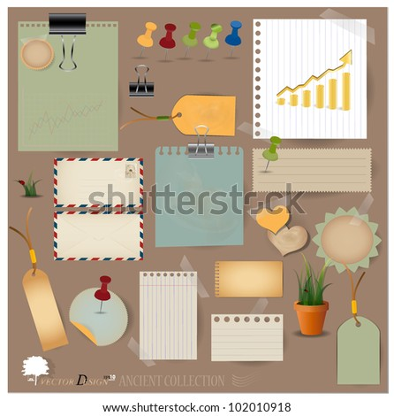 Vector set: Vintage envelope, stamp, card, paper clip, office pins and blank paper designs. - stock vector