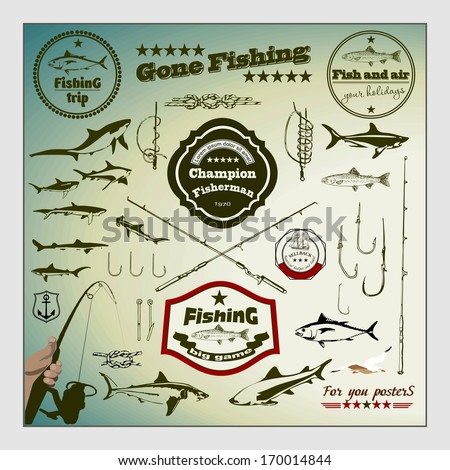 Vector Set: Vintage Fishing Labels and Stamps - stock vector