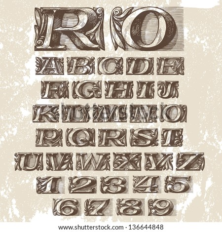 Vector Set. Vintage Fonts - stock vector