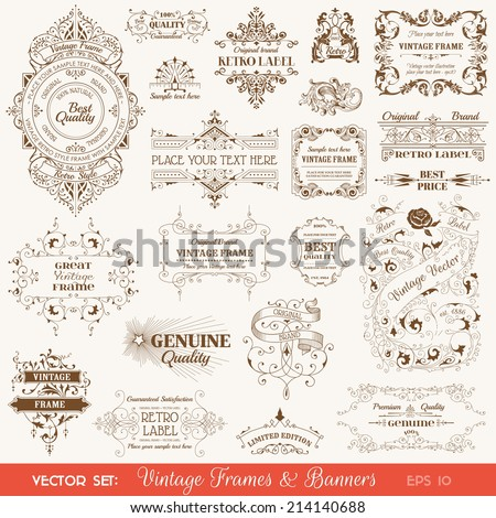Vector Set: Vintage Frames and Banners, Calligraphic Design Elements and Page Decorations - stock vector