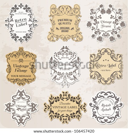 Vector Set: Vintage Frames, Calligraphic Design Elements and Page Decoration - in vector - stock vector