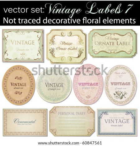 vector set: vintage labels 7 - stock vector