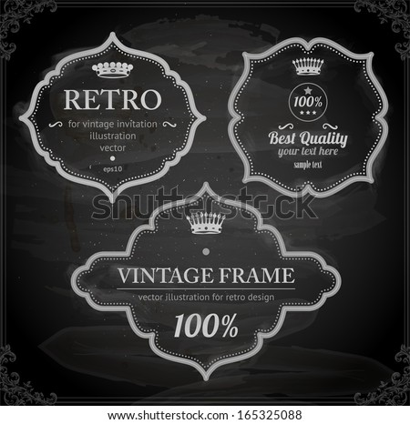 vector set: vintage labels, chalkboard background - stock vector