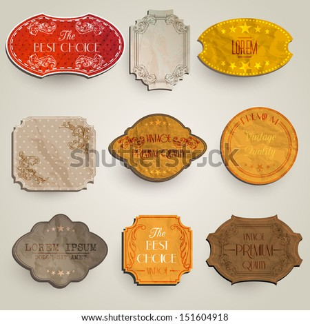 vector set: vintage labels with flowers, old paper texture - stock vector