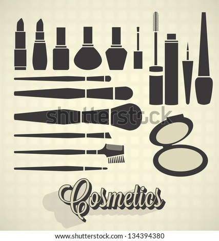 Vector Set: Vintage Make Up Silhouettes - stock vector
