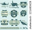 Vector Set: Vintage Oceanography Class Labels and Icons - stock photo