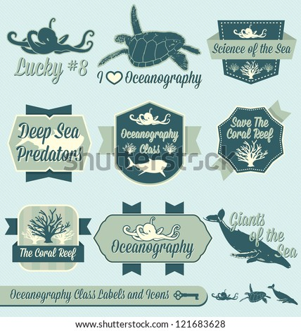 Vector Set: Vintage Oceanography Class Labels and Icons - stock vector