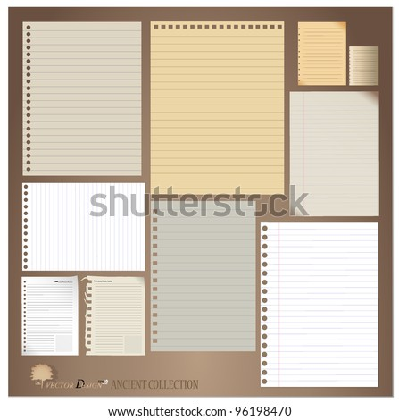 Vector set: Vintage paper designs (paper sheets, lined paper and note paper) - stock vector