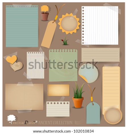 Vector set: Vintage postcard, card and blank paper designs. - stock vector