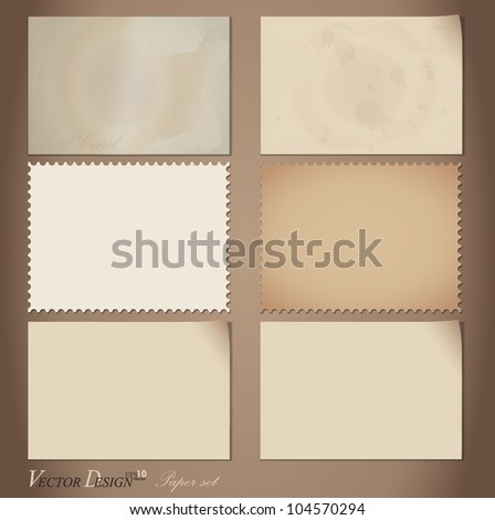 Vector set: Vintage postcard designs. - stock vector