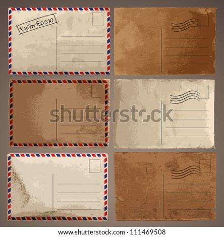 Vector set: Vintage postcard designs - stock vector