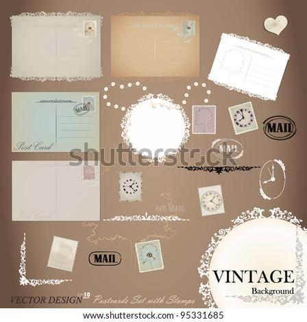 Vector set: Vintage postcard designs and postage stamps. - stock vector