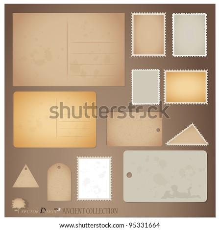 Vector set: Vintage postcard designs ,stamps and tags. - stock vector
